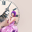 girl in pink dress,  siberian husky dog and big clock