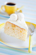 Slice cake with pineapple and white chocolate coconut truffles