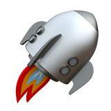 3D illustration of cartoon rocket over white background