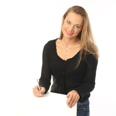 Blonde girl with a pen