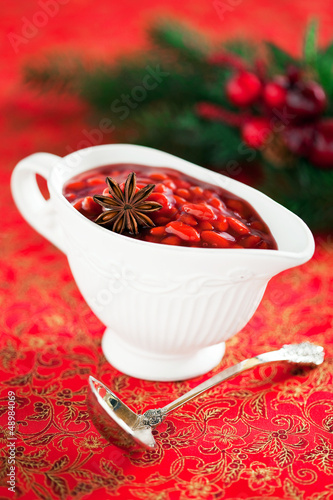 Goji berry sauce with spices, selective focus