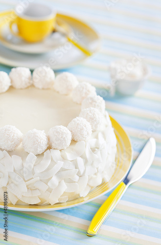Cake with pineapple and white chocolate coconut truffles