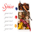 Colorful spices on a white background with sample text
