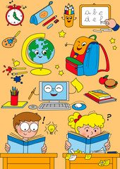Cartoon school elements for little kids