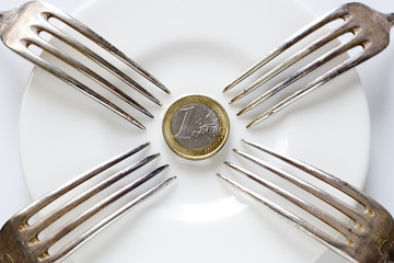 Forks stuck euro coin