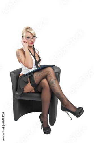 canvas print picture erotische business frau sitzend