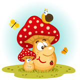 Mushrooms and insects vector