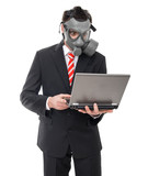 Afraid businessman with gas mask using laptop, isolated on white