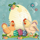 Hens with eggs background turchese