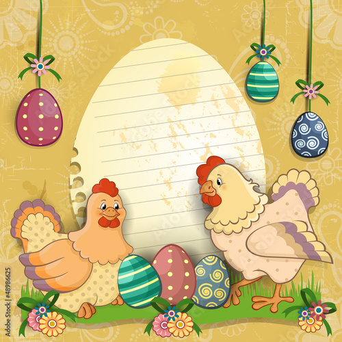 Hens with eggs and flowers