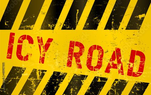 Warning sign icy road
