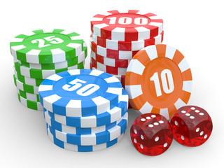 Casino chip stacks over white background. 3D render illustration