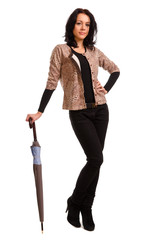 Elegant woman posing with an umbrella