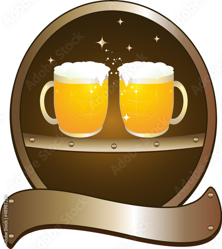symbol beer pub with two mug