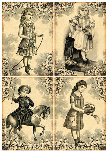 4 vintage postcard