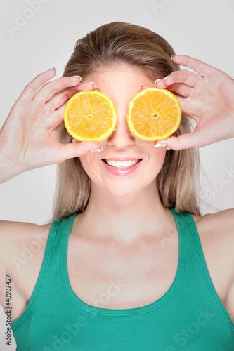 gesundheitsbewusste Frau fröhlich