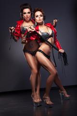 Couple of Enticing Lesbian Flirty Women in Heels - Nightlife