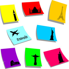 Travels symbols or icons around the world silhouette