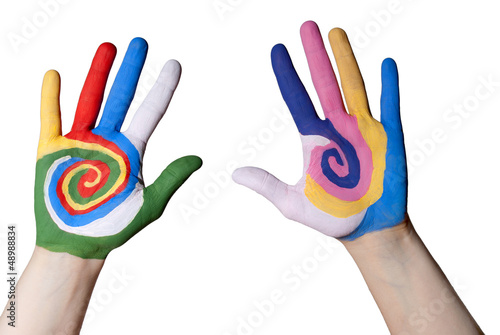 two colorful hands