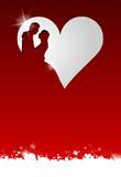 Fototapety Brautpaar Karte mit Herzen