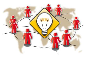 Crowdsourcing, Think Thank, Schwarmintelligenz, Symbol