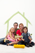 Family with two kids repainting their home