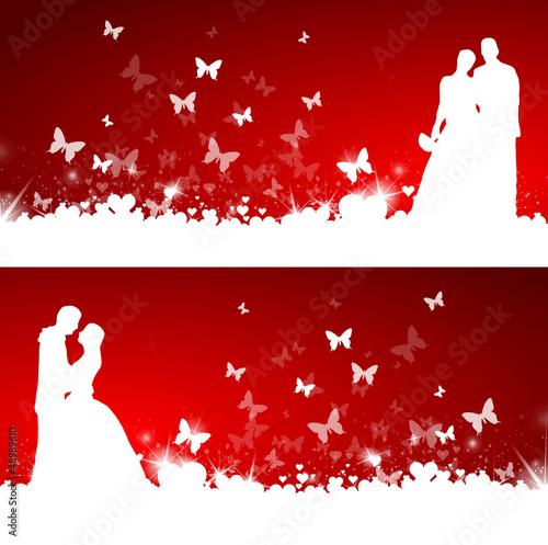 Brautpaar Karte mit Herzen und Schmetterlingen