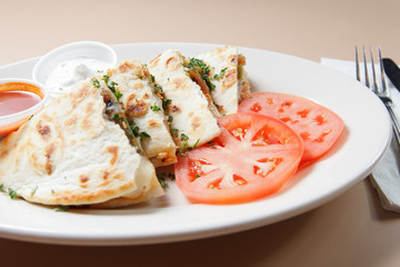 Smoked Salmon quesadillas with tomato and sauce