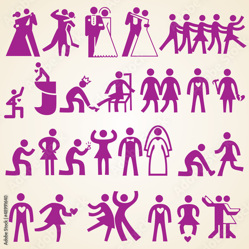 Valentines day icons silhouettes, love wedding related themes