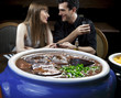 Feijoada - Brazilian meat & bean stew, side dishes & caipirinha