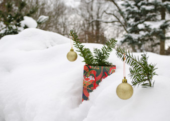 golden christmas tree toys yew branch winter snow