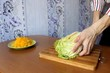 Slicing vegetables.