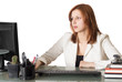 woman manager sitting at the computer