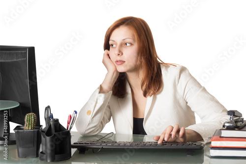 Secretary female typing on a computer keyboard