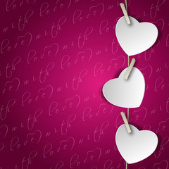 background with three white hearts