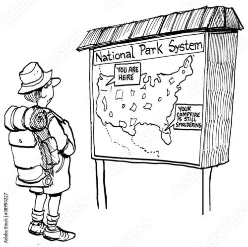 Hiker sees a map with a fire warning