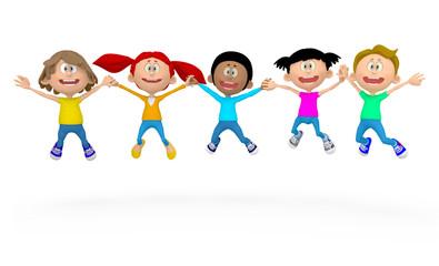 3D kids jumping