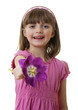 happy little girl with a tulip flower - mothers day concept