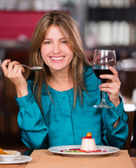 Woman at a restaurant