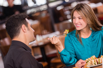 Woman having dinner with her boyfriend