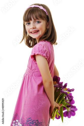 happy little girl with bunch of flowers - mothers day
