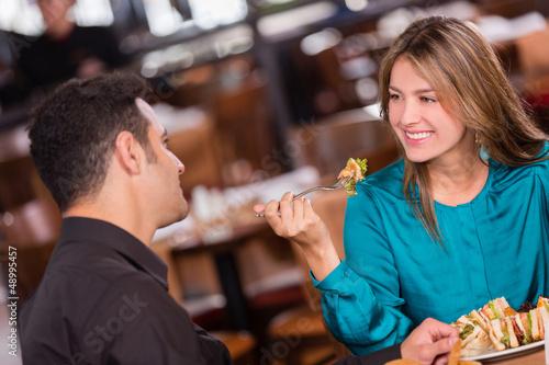 Woman having dinner with her boyfriend