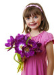happy little girl with bunch of flowers - mothers day concept