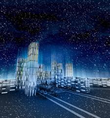 Futuristic business cityscape at winter snowfall
