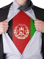Business man with Afghan flag t-shirt