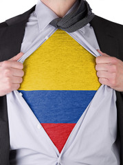 Business man with Colombian flag t-shirt
