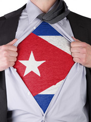 Business man with Cuban flag t-shirt