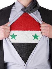 Business man with Syrian flag t-shirt