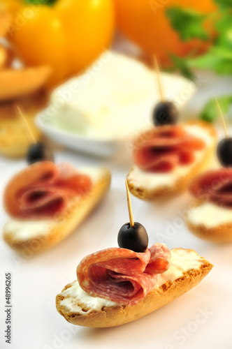 croutons with sliced salami cheese and olives