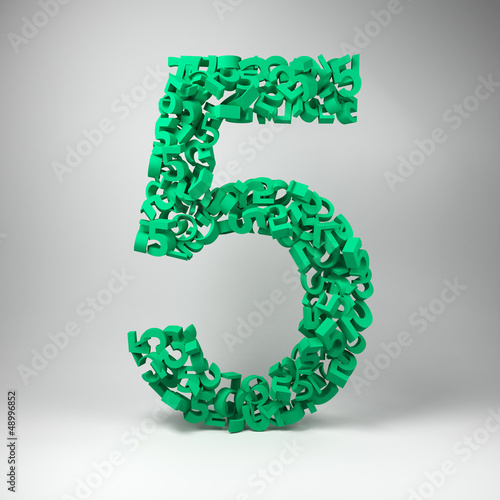 The number five made out of small number fives